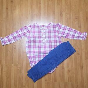 Osh Kosh Plaid Onesie w/ Jean Jegging outfit, 18 M